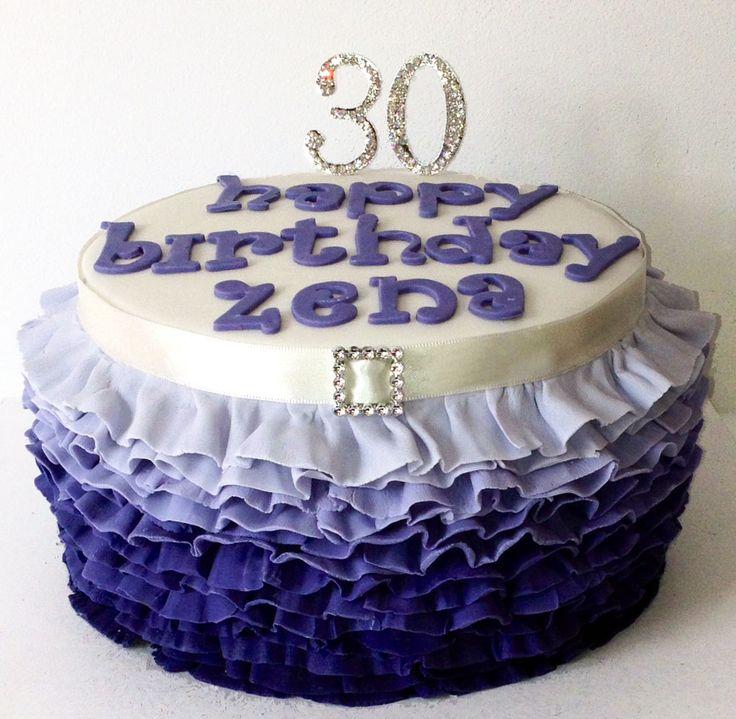 Purple Ombre Ruffle Cake Like us at www.facebook.com/melianndesigns
