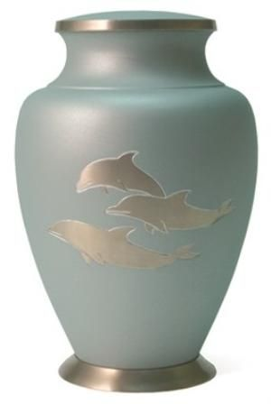 "Aria Dolphin, Price: $259.00, Size(s): 9.9""H x 6.6""W, 200 Cubic Inches  available at http://www.thecasketstore.com  #urn #urns #cremation #memorial"