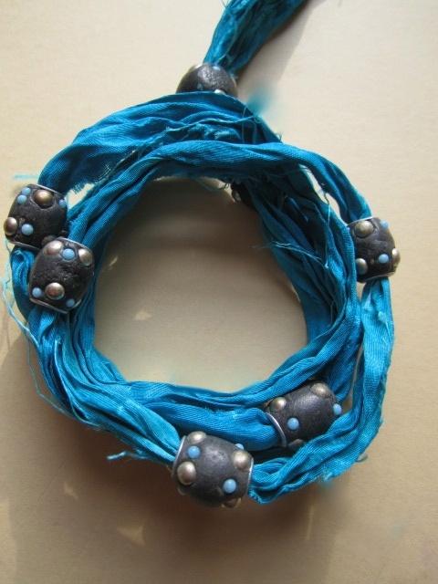 Sari Silk Ribbon Handcrafted Moroccan Lac Beaded Ethic Boho Wrap Bracelet Cuff £12.00