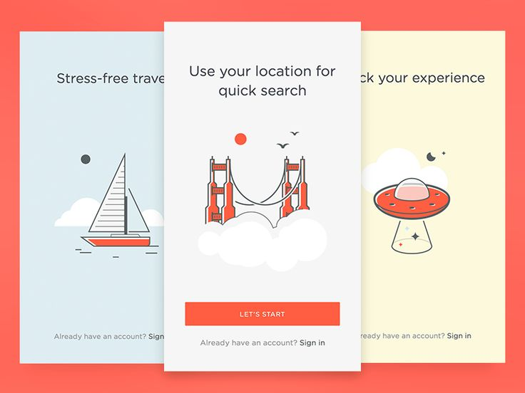 Onboarding cards for a travel app. Illustrations are part of a full set coming soon at UI8  - - -    Our Marketplace |  Twitter  |  FB |  IG
