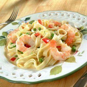 Recetas de Cocina Fusión... Fettuccini con camarones
