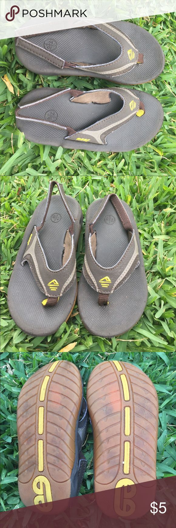 Reef Slippers (flip flops) with Backstrap Shades of brown with a pop of yellow.  These are in good used condition.  Price final unless bundled. Please bundle and make an offer. Reef Shoes Sandals & Flip Flops