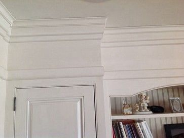 I've seen pictures before, but didn't save them. I am wanting my cabinets to go to 8 ft. and then add around 1 ft. of moulding to make them go to the ceiling. I don't like the smaller cabinet stacked on a medium sized cabinet, and I don't want space above my cabinets. Any other ideas, I'm open to! W...