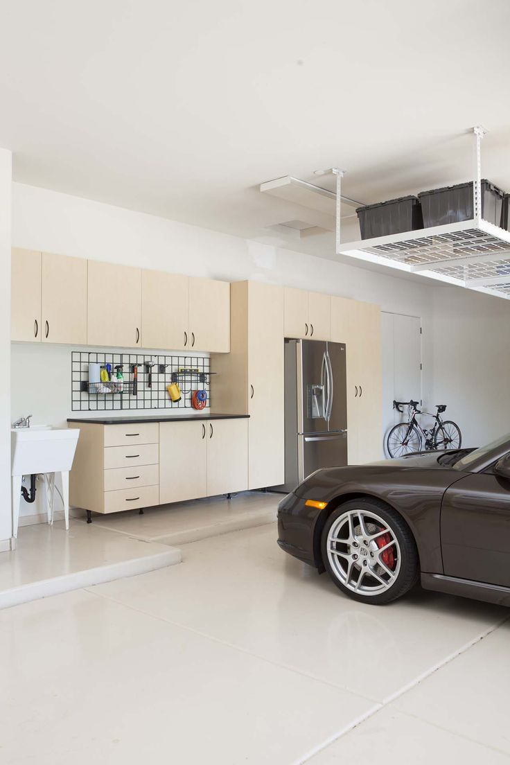 Dream garage garage cabinets garage floor tiles - Freshen Up Your Garage With Overhead Storage Shelving Cabinets For Your New Or Existing Home Bar Storage