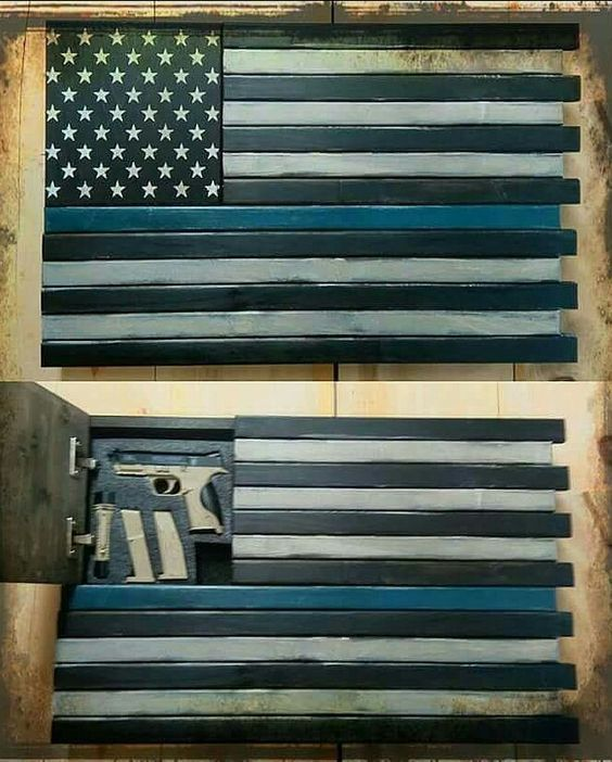 THIN BLUE LINE AMERICAN FLAG HIDDEN HAND GUN SAFE!!!
