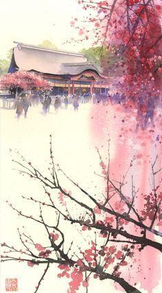 Картинки по запросу китайская архитектура рисунки акварелью