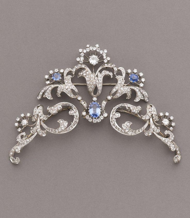 A vintage platinum, diamond and sapphire tiara, circa 1920. Separates into three brooches. #vintage