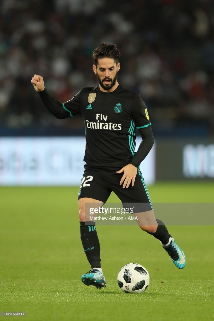 Isco of Real Madrid in action during the FIFA Club World Cup UAE 2017 semi-final match between Al Jazira and Real Madrid CF at Zayed Sports City Stadium on December 13, 2017 in Abu Dhabi, United Arab Emirates.