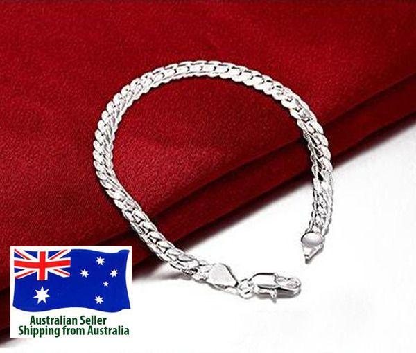 925 Sterling Silver Filled Chains Bracelet Unisex Man Woman 5mm 20cm Jewellery