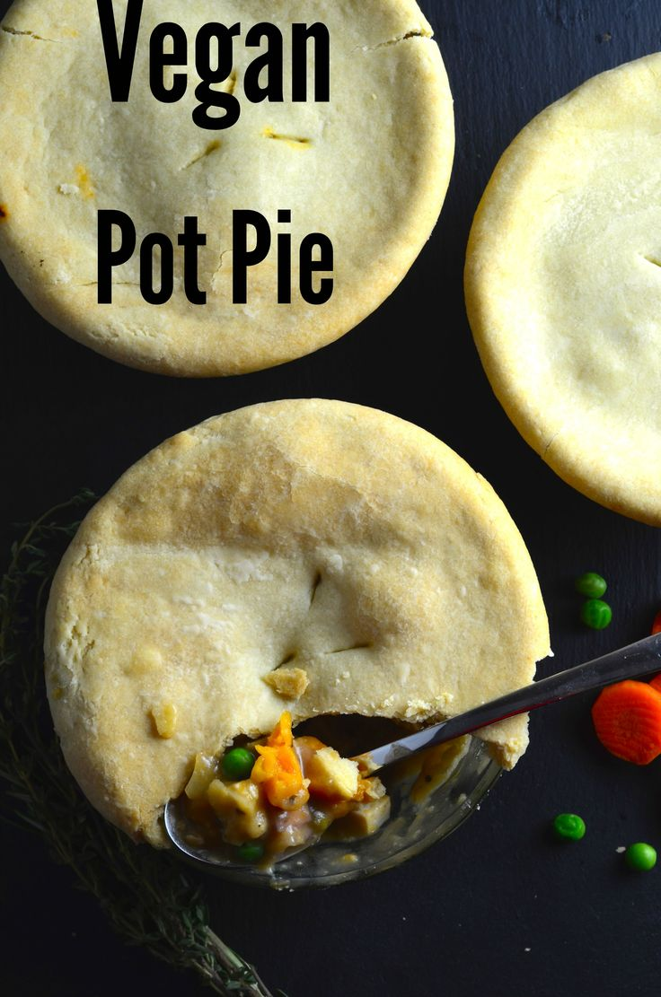 Vegan Pot Pie - e Easy & Quick Vegan pot pies with rainbow carrots and white wine topped with a comforting olive oil crust.  Just perfect!