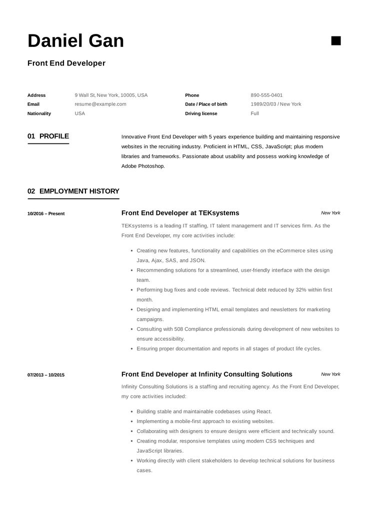FrontEnd Developer Resume Example, Template, Sample, CV