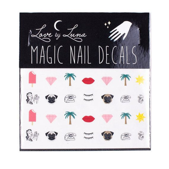 California Nail Decals / Girly Nail Decals / Pug by LoveByLunaCo
