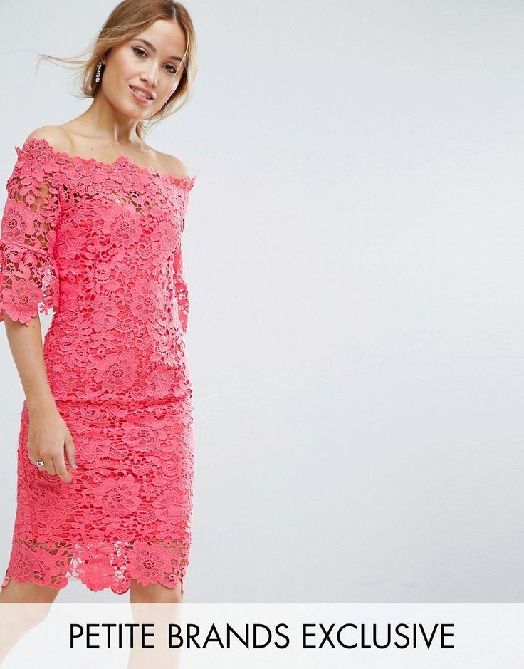 Paper Dolls Petite Bardot Cutwork Lace Pencil Dress - Pink