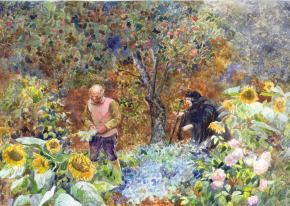 Another rarely depicted scene by Simon Kozhin -- the husband picking rampion in the witch's garden