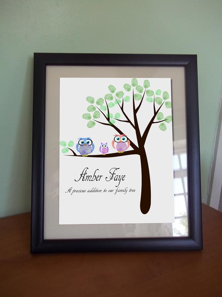 Personalized custom DIY Printable finger thumb print family tree mom Dad Birthday gift Wall art Print bird owl card nursery baby keepsake. £7.00, via Etsy.