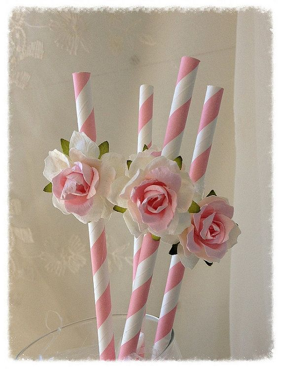 Birthday Decoration Shabby Chic Pink Straws for by JeanKnee