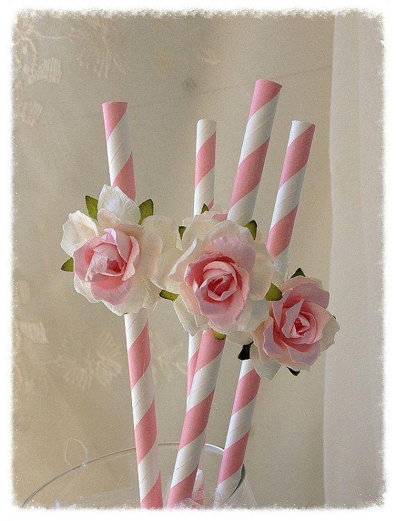 Cumpleaños decoración Shabby Chic rosa pajas para por JeanKnee