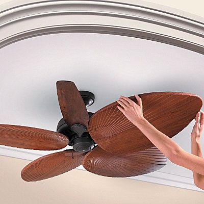 Palm-Leaf Ceiling Fan Blades.. slides right over your original blades.. love this!