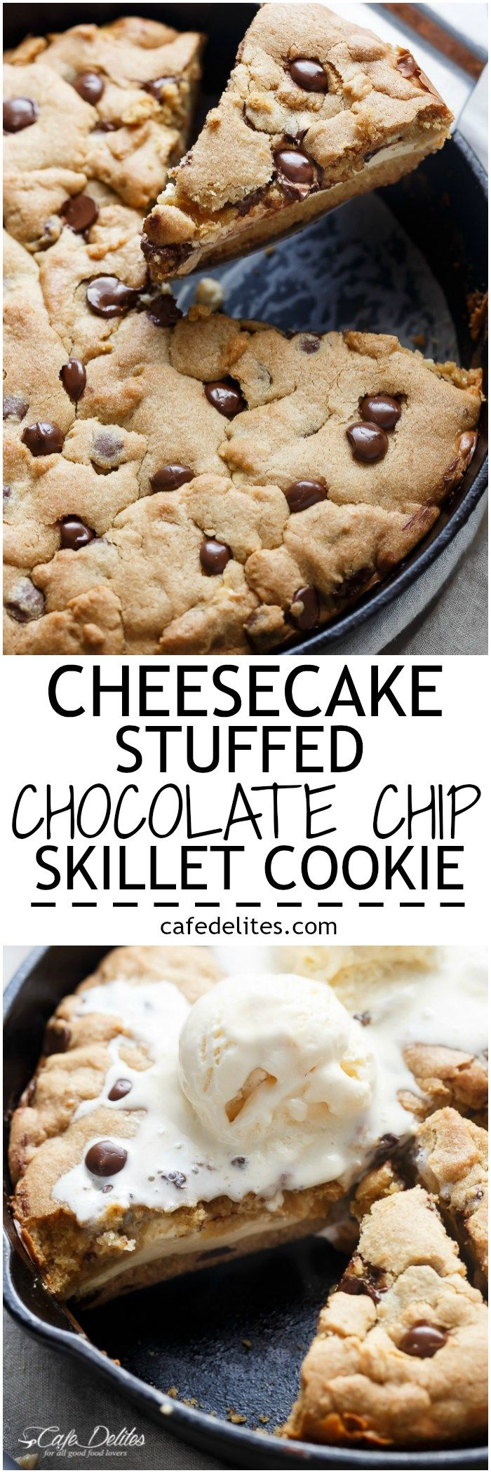 A crispy, soft Cheesecake Stuffed Chocolate Chip Skillet Cookie! Layers of cookie dough and cheesecake is the ultimate dessert for cheesecake/cookie lovers! | http://cafedelites.com