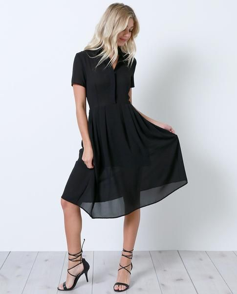 +Military chic inspired solid non-stretch chiffon short sleeves shirt dress
