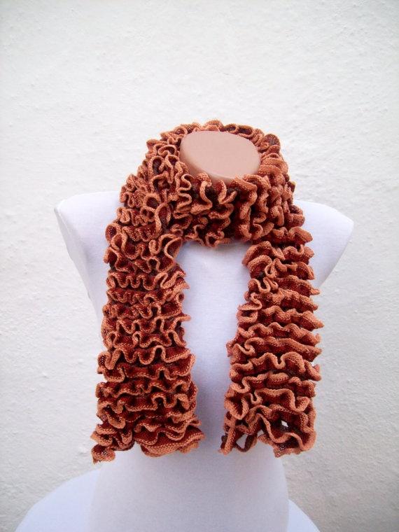 SALE  20  Was 22 Now 176  Brown  Knit Scarf Fall Fashion by nurlu, $17.60Fashion Frilly, Copper Bronze, Knits Scarf, Knits Scarves, Beautiful Copper, 176 Brown, Accessories Fall, Fall Fashion, Brown Knits