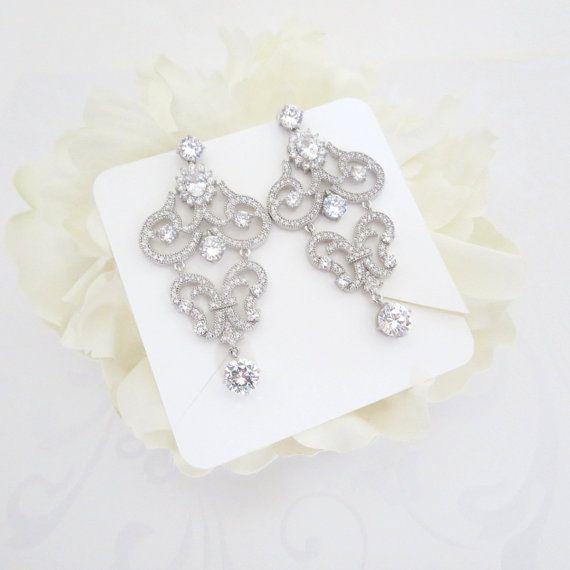 Crystal Bridal earrings Chandelier Wedding by TheExquisiteBride