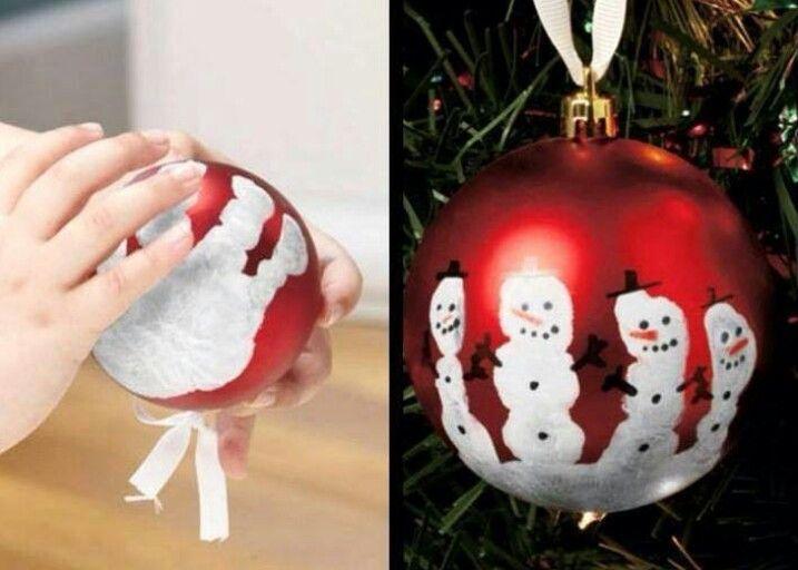 Printing a handprint onto Christmas Baubles - makes cute little snowmen. CUTE! :3