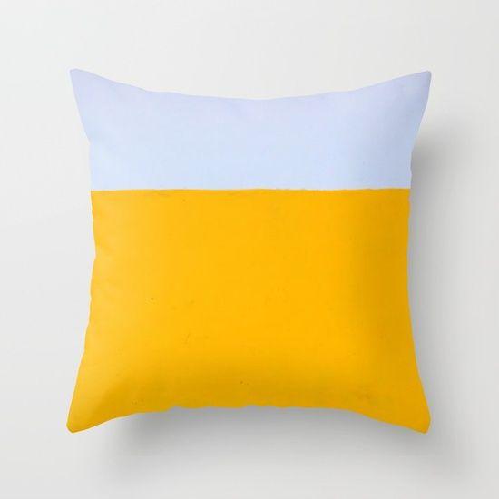 COLOUR BLOCK THROW PILLOW -#ShopTwenty9 . https://society6.com/twenty9designs/pillows . #throwpillows #pillows #cushions #colourblock #yellow #blue #bold #creative #graphic #homedecor #minimalistdecor #linen