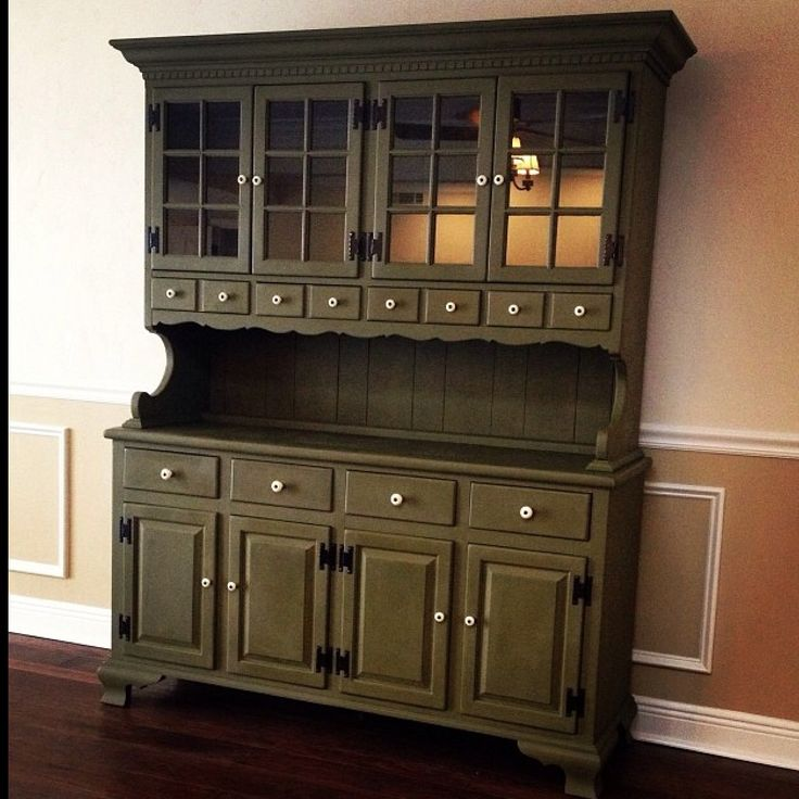 Chalk Paint Kitchen Cabinets Green: Hutch Painted With Annie Sloan Chalk Paint In Olive.