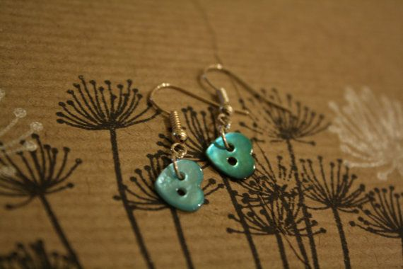 Blue valentine heart button earrings on Etsy, $9.32 AUD