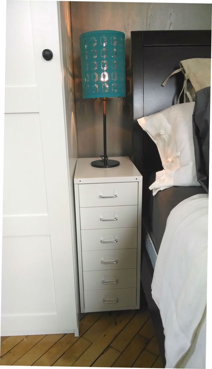 Limited space next to your bed doesn't mean you can't have a nightstand! The HELMER drawer unit has space for a lamp and your cell phone, plus plenty of drawers!