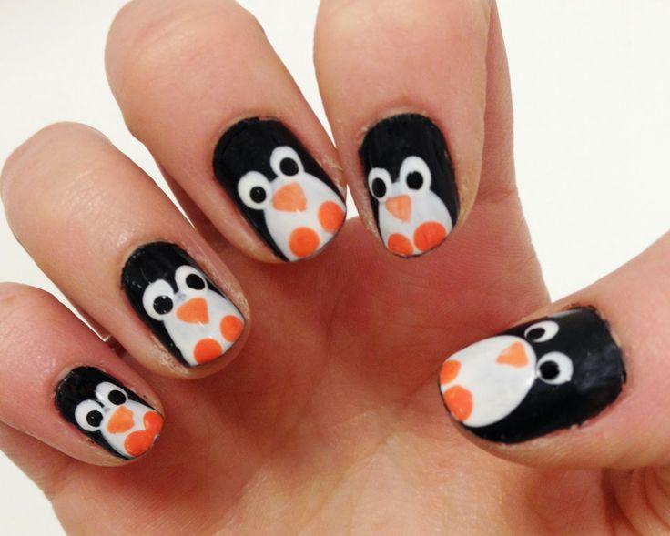 leuke pinguïns op je nagels