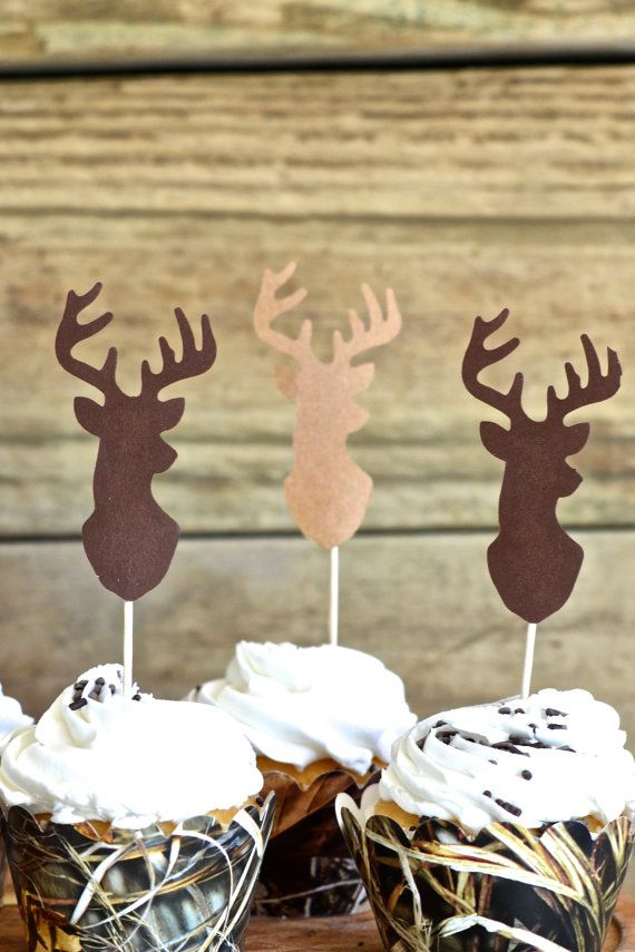 Deer Silhouette Cupcake Toppers  bucks in by thePathLessTraveled