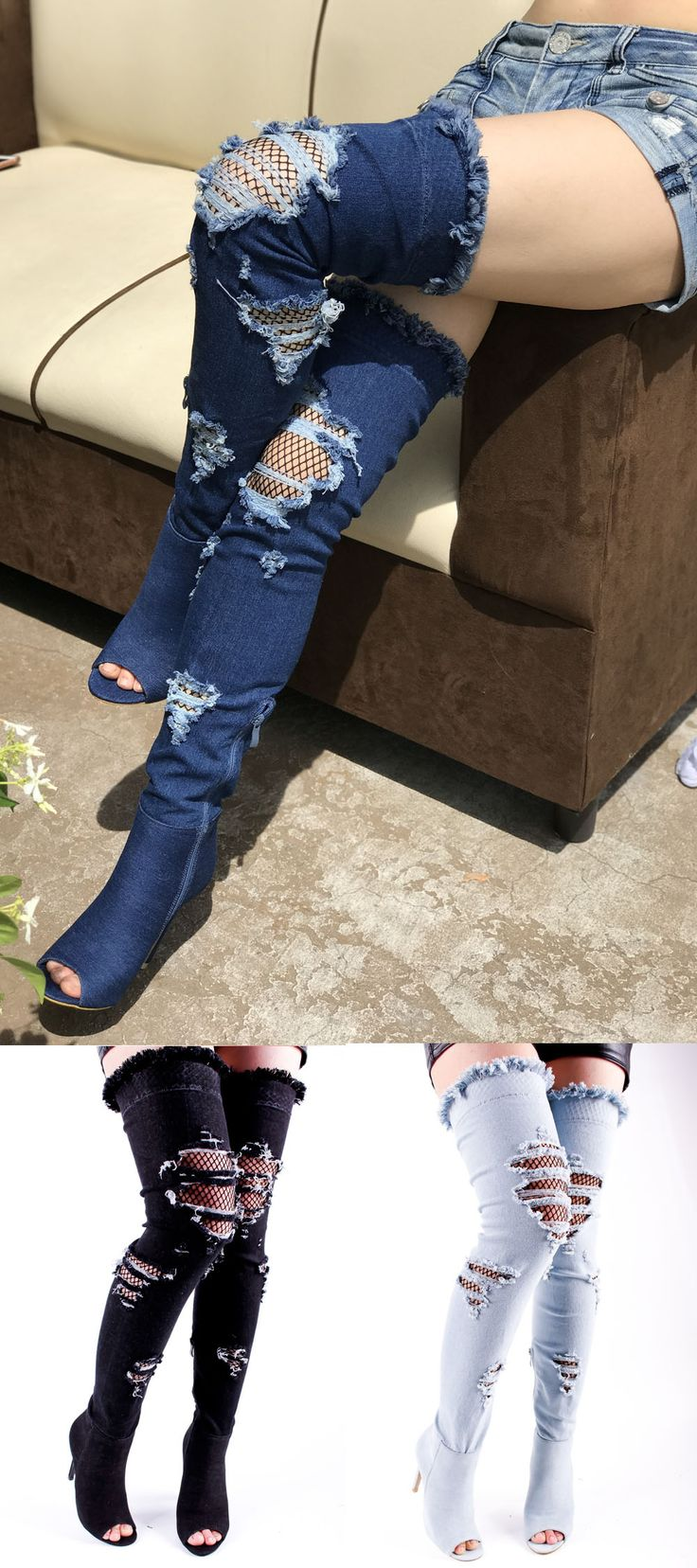 These boots shoes feature a denim cutout with fish net design, deep open toe , side zipper , over the knee stiletto high heel measures about 5 inches , boots length measure about 28 inches.