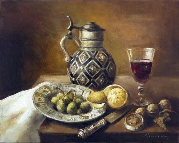 Still Life With Pitcher Wineglass Lemon And Pears Original Oil