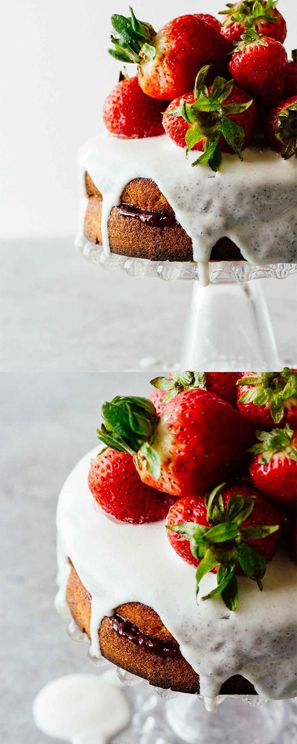 Healthy Strawberry Shortcake w/ Sugar-Free Glaze! Perfect for a healthy summer dessert. Refined sugar free, gluten free, and easy to make! YUM!