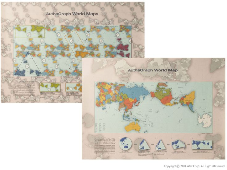 Rejigged  AuthaGraph World Map representing the true relative sizes of continents and seas. AuthaGraph World Map is made by equally dividing a spherical surface into 96 triangles, transferring it to a tetrahedron while maintaining areas proportions and unfolding it to be a rectangle. The world map can be tiled in any direction without visible seams. From this map-tiling, a new world map with triangular, rectangular or parallelogram's outline can be framed out with various regions at its…