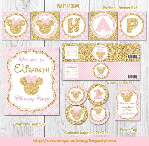 Pink and gold minnie mouse birthday party package first for 1st birthday decoration packages
