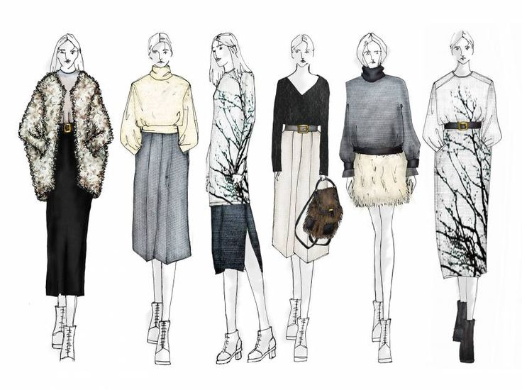 Fashion Sketchbook - fashion illustrations; line up drawings; fashion portfolio // Hannah Law