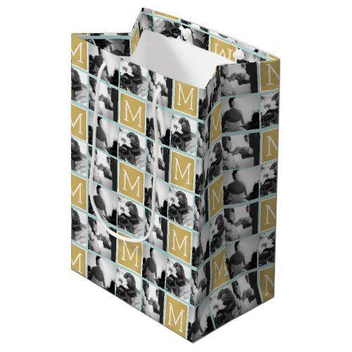 Create Your Own Wedding Photo Collage Monogram Medium Gift Bag