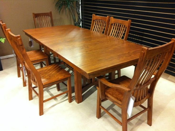 laurelhurst mission style dining table and chairs made by a america solid oak 42 w two 16 center leaves that store inside the table let you ad - Mission Style Dining Table