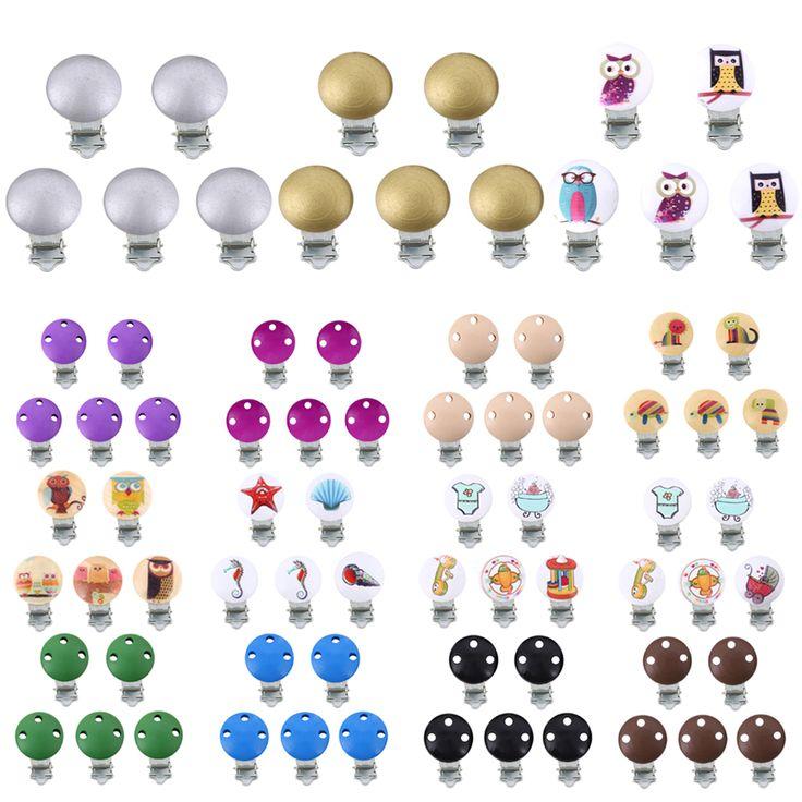 Grosir 5 pcs Kartun Bayi Nipple Klip Karakter Kayu Dot Bayi Pemegang Klip Bayi Putaran Nipple Klip