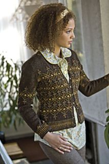 Robin Melanson was uniquely inspired when choosing her palette for her Fair Isle cardigan by foliage of wild grasses and the cover of Neil Young's 1972 album Harvest. For simplicity, the same background color is used throughout, but then she shaded the pattern colors rhythmically from dark to light then back to dark.