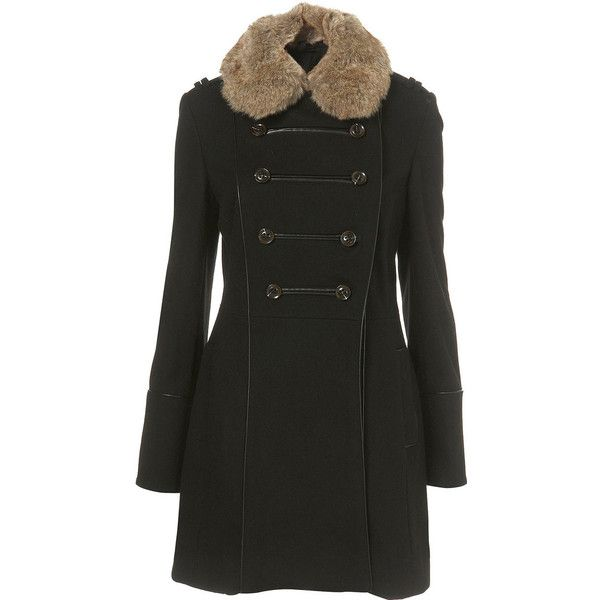 Military Faux Fur Collar Coat (60.210 CLP) ❤ liked on Polyvore featuring outerwear, coats, coats & jackets, women, double breasted military coat, military-style coats, double breasted coat, military inspired coat and military coats