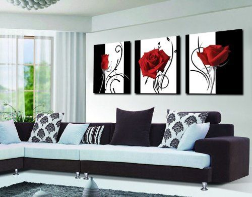 Abstract Art In Black White Red Decorative Wall Canvas Print Set Of 3 No