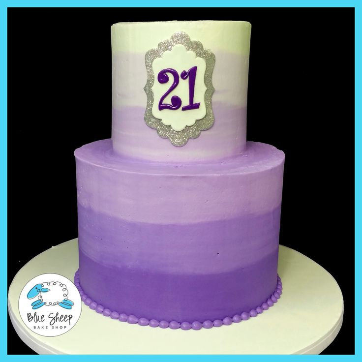 Purple Ombre 21st Birthday Cake NJ