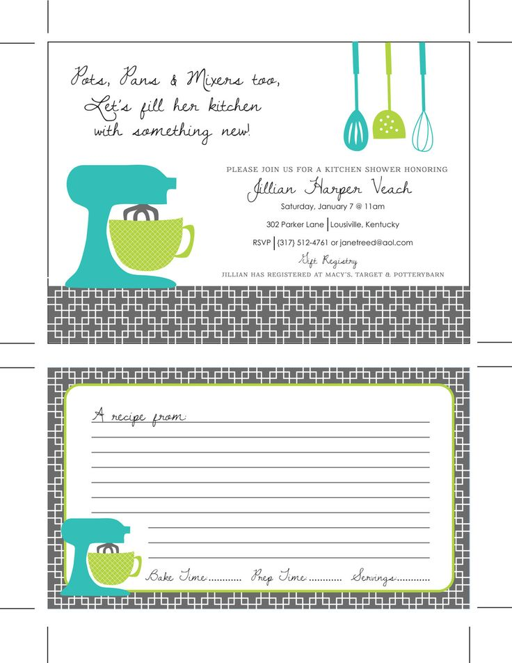 Printable Kitchen Shower Invitations, Bridal Shower Invitations, Housewares Party, Housewarming Party, Kitchen Invitations, Recipe Cards. $18.00, via Etsy.