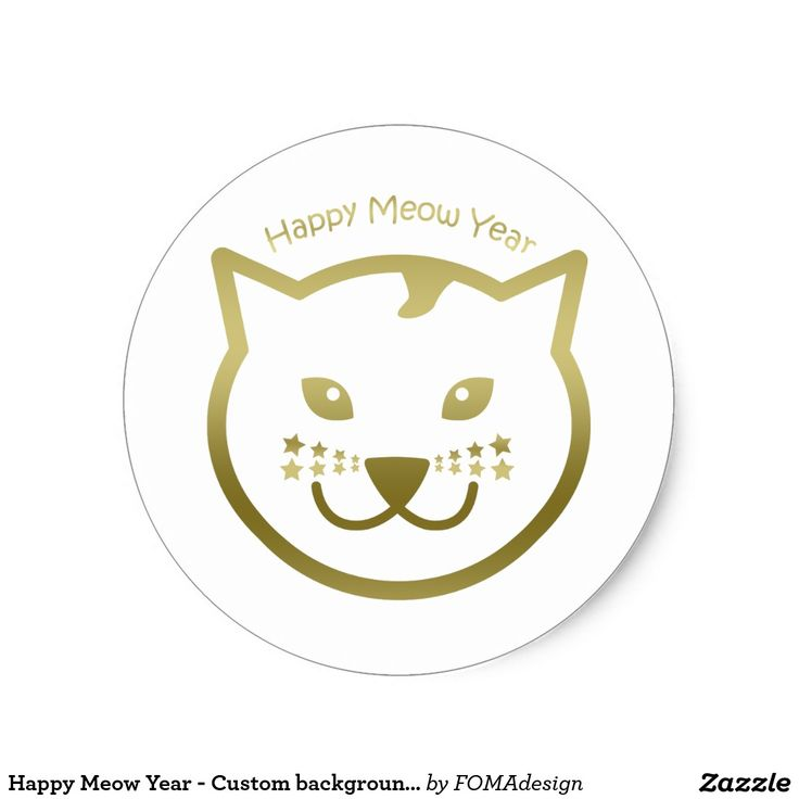 Happy Meow Year faux gold cat face, with stars as mustaches - Custom background color Classic Round Sticker, by FOMAdesign
