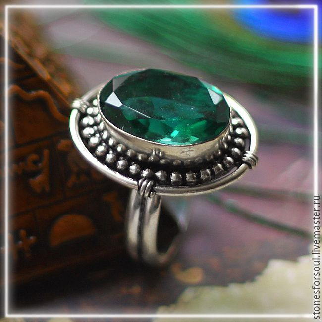 """Купить кольцо в серебре 925 пр. """"Изумрудное настроение"""" - болотный, серебро 925 пробы, серебро"""