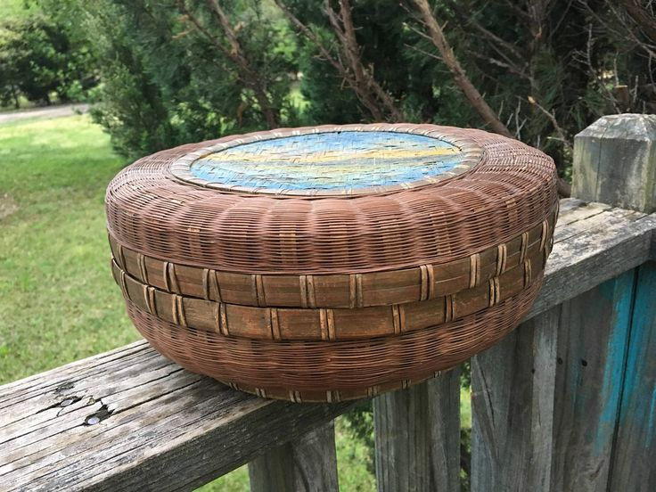 Vintage Sewing Basket--Round Wicker Basket with Lid--Decorative Sewing Basket--Woven Basket & Lid--Oriental and Asian Style Influence by AlloftheAbove on Etsy